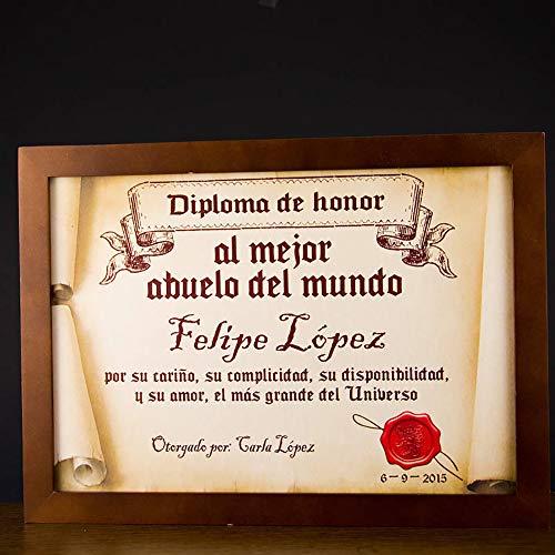Calledelregalo Regalo para Abuelos Personalizable: Diploma pergamino 'al Mejor Abuelo del Mundo' Personalizado con su Nombre, dedicatoria, Firma y Fecha