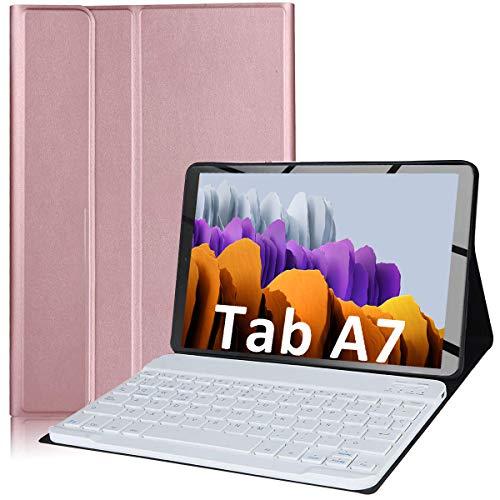 YingStar Funda con Teclado Español Ñ para Galaxy Tab A7 10.4'' 2020 Modelos T500 T505 T507 Keyboard Case Cubierta Delgada Teclado Inalámbrico Desmontable para 2020 Tab A7 10.4 Pulgadas (Oro Rosa)