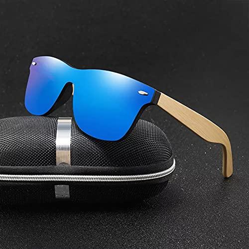 YTYASO Gafas de Sol de Madera para Hombres, Mujeres, cuadradas de bambú, para Mujeres, Hombres, Espejo, Gafas de Sol Hechas a Mano