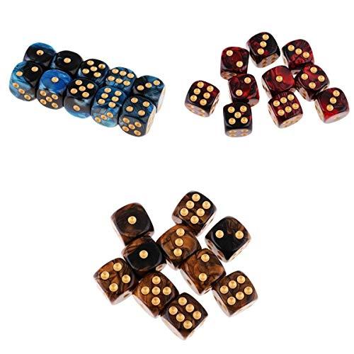 SaniMomo 30pcs dados coloridos 6 lados del juego dados 16m m para los juegos de mesa y enseñando matemáticas