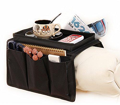 Resistente organizador para apoyabrazos de sofá con sujetavasos, bolsillos para mando a distancia, dispositivos Apple, móviles, tablets, revistas, DVD, vasos, snacks