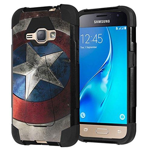 Galaxy Express 3 / Galaxy Amp 2 / Galaxy Luna/Galaxy J1 J120 Case, Capsule-Case Shockproof Kickstand Case (Black) for Samsung Galaxy Express3 / Amp2 / Luna / J1 J120- (Rock Star)