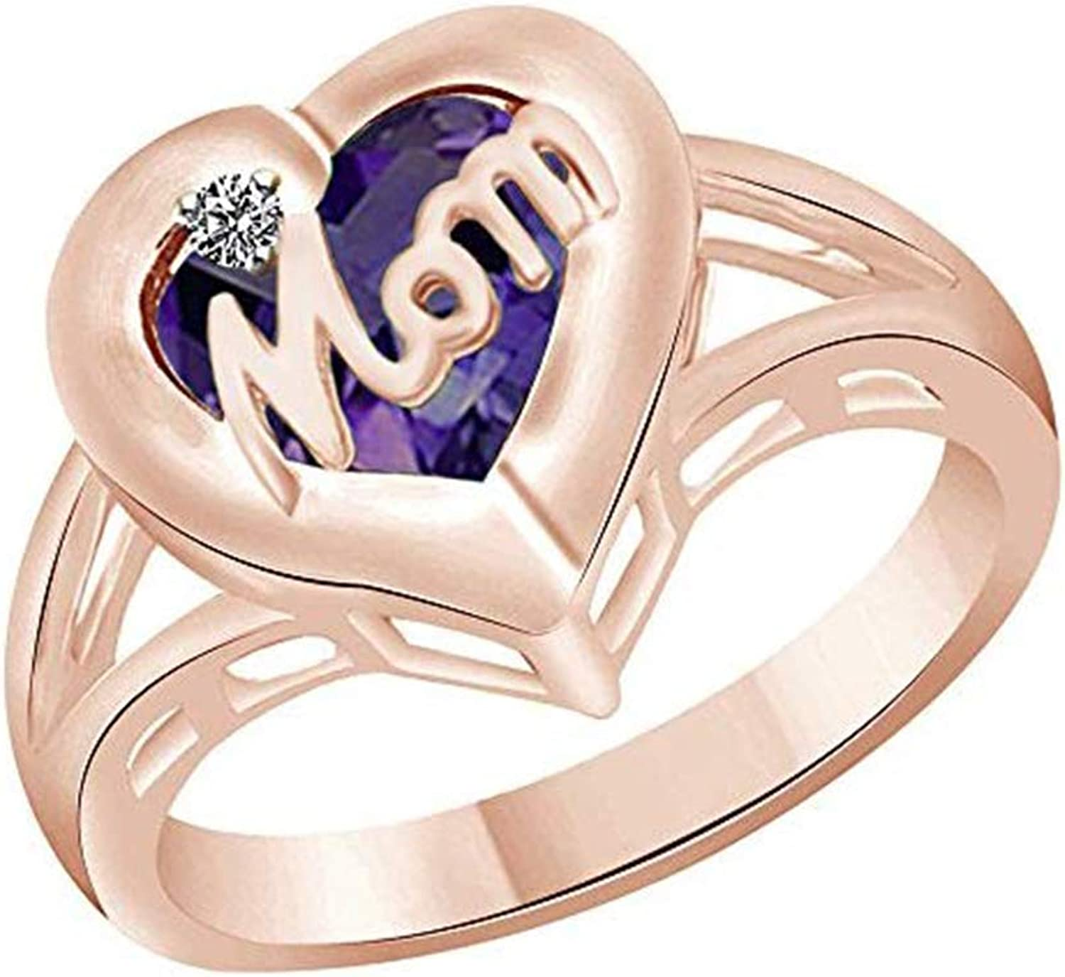 AFFY Mothers Day Jewelry Gifts Simulated Alexandrite & Cubic Zirconia Mom Heart Promise Ring in 925 Sterling Silver