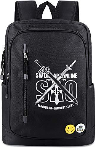 Roffatide Anime Sword Art Online Laptop Backpack Oxford School Bag Luminous Printed Daypack Cartoon Back Pack Black 1