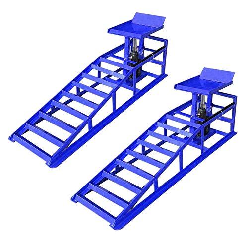 HENGMEI 2 Stück Auffahrrampen mit hydraulischem Wagenheber Hebeplattform - Laderampe Set 2000kg höhenverstellbar Reifenbreite bis 225