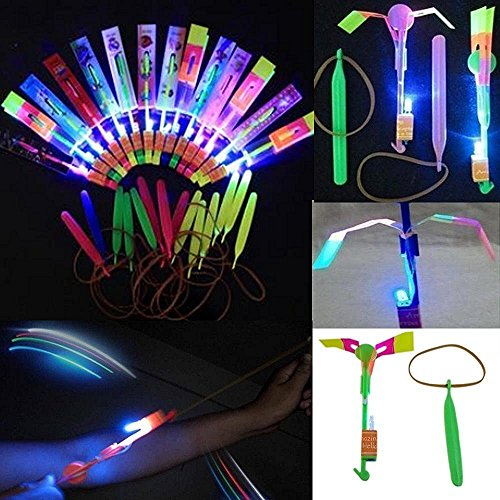 48pc Amazing LED Light Arrow Rocket Helicopter Flying Toy Party Fun Gift Elastic