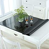 OstepDecor Custom Black Table Cover for 4 Foot Table - 48 x 24 Inch Water Resistant Plastic Table Protector Rectangular Vinyl Non-Slip Desk Pad for Coffee Table, Writing Desk