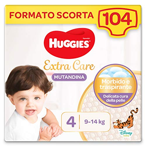 HUGGIES Extra Care Pannolino Mutandina Taglia 4 (9-14 kg), Confezione da 104 (4 x 26)