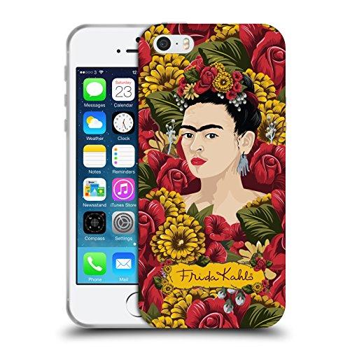 Official Frida Kahlo Portrait Pattern Red Florals Soft Gel Case Compatible for Apple iPhone 5 / iPhone 5s / iPhone SE 2016