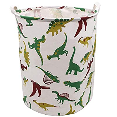 Extra Large Laundry Hamper 19.7x15.7 Inch, ZUEXT Cotton Canvas Fabric Collapsible Organizer Basket, Waterproof Clothes Laundry Hamper, Toy Bins, Dinosaur Gift Baskets for Bedroom Baby Nursery