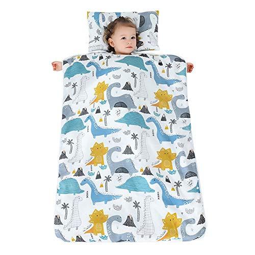 YFCH Baby/Kinder Jungen/Mädchen Schlafsack Kinderschlafsack Abziehbar Babyschlafsack Baumwolle Musselin Schlummersack Babydecke mit Kopfkissen, Tropen Dinosaurier, 120 × 150CM