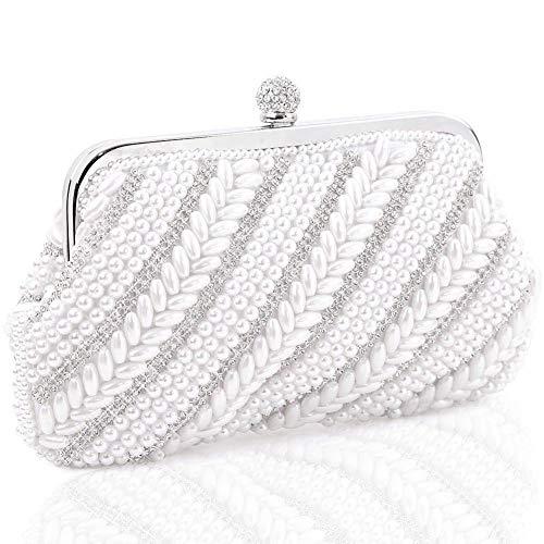 LONGBLE Damen Clutch mit Perlen und Strass Verzierung Handtasche Abendtasche Brauttasche Umhängetasche für Hochzeit Party Dating Wochenende Bankette festliche Anlässe