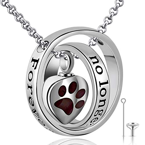 Urn Necklaces for Ashes No Longer by My Side Forever in My Heart Mum Dad Cremation Urn Locket Jewellery (Dog paw urn Necklace)
