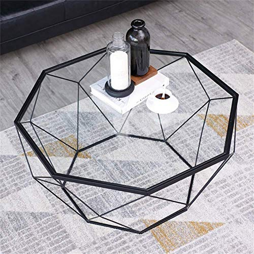 Zijtafel woonkamer Eenvoudige Achthoekige Woonkamer Smeedijzeren Art Decor Bijzettafel, Transparant Gehard Glas Werkbladen, Meerdere
