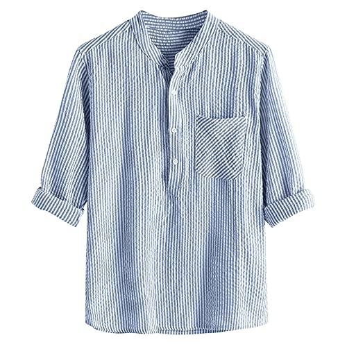 Camicia a Manica Corta da Uomo Slim Fit Tops a Righe Tinta Unita T-Shirt Girocollo Pullover Elegante Casual Vintage Etnico Sottili Shirt