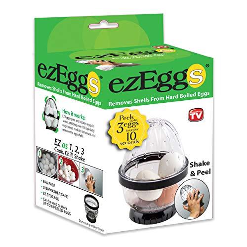 EZ EGGS Hard Boiled Egg Peeler, 3 Egg Capacity – Handheld Specialty Kitchen Tool Peels Egg Shells in Seconds (As Seen on TV)