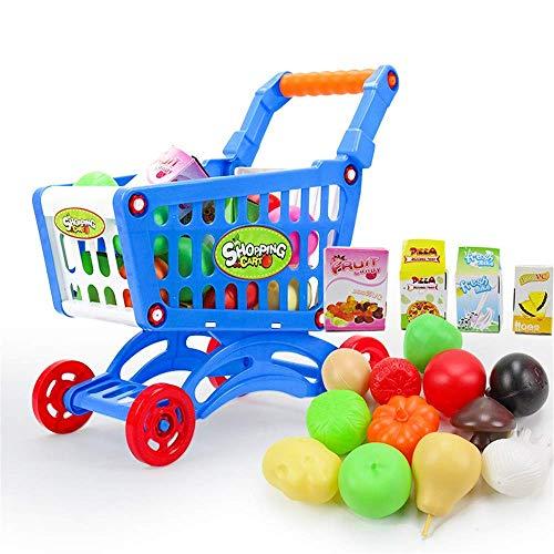 ABACUS Juguete Fancy Play Mini Juguete Supermercado Carrito de compras Carrito de la compra con frutas y verduras para niños juguetes educativos (Color: Rosa) Desarrollar Inteligencia (Color: Azul) TI