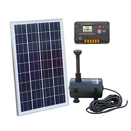 ECO-WORTHY Solar Foutain Pump Kit - Submersible Water Pump + 25 Watt Solar Panel 16.6ft Power Cord for Sun Powered Fountain, Waterfall, Pond Aeration, Hydroponics, Aquarium, Aquaculture