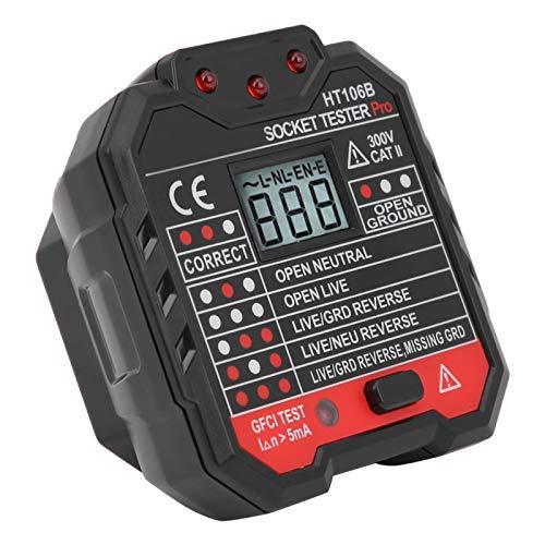 Comprobador de fallas Indicadores LED de Pantalla Digital Enchufe probador para escuelas para detectar Cables de Tierra(European regulations)