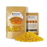 Bienenbiya® 100% Reine Bienenwachs Pastillen (200g) ohne Zusatzstoffe, 200g natürliches Bio Beeswax für Salben,Kosmetika,Seifen,Bienenwachstücher,Kerzenherstellung und Leder-/Holzpflege