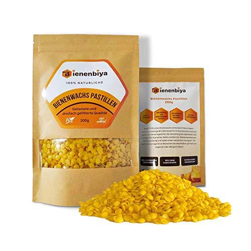 Bienenbiya® Cera d'api Pura al 100% Senza additivi, 200g Cera d'api Biologica Naturale per unguenti, Cosmetici, saponi, Asciugamani di Cera d'api, Fabbricazione di Candele