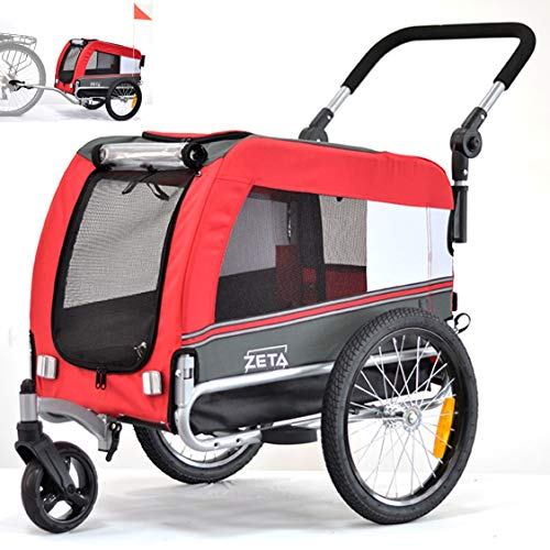 Papilioshop Zeta - Remolque para bicicleta, cochecito, transporte de perros, animales (rojo S)