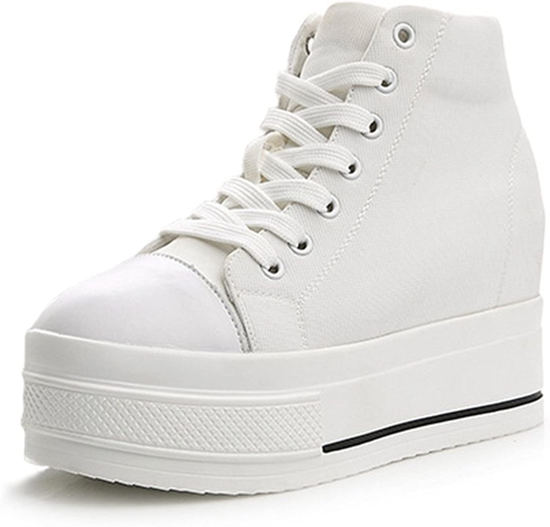 Btrada Lace Up Platform Sneaker Formal Wedges Women's High Top Hidden Heel Canvas Walking shoes