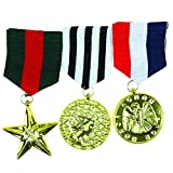 world war 2 medals - Skeleteen Costume Military Officer Medals - US Army Medal for Soldier Coat Jacket Costume Uniform