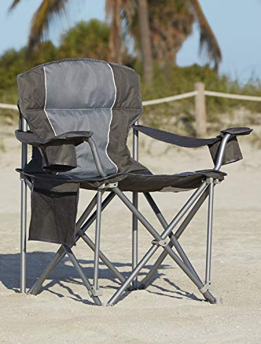 LivingXL 500-lb. Capacity Heavy-Duty Portable Oversized Chair, Collapsible Padded Arm Chair with Cup Holders and Lower Mesh Side Pocket, Charcoal