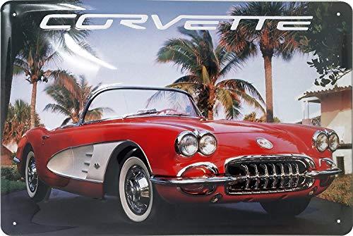 Corvette Blechschild, hochwertig geprägtes Retro Werbeschild, Türschild, Wandschild, 30 x 20 cm