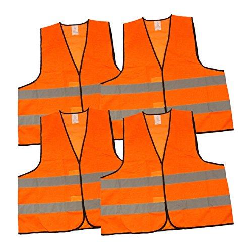 Uakeii Warnwesten 4er-Set nach EN ISO 20471 Zertifiziert Warnweste Auto Neon-Orange Einheitsgröße XXL mit Reflektorstreifen
