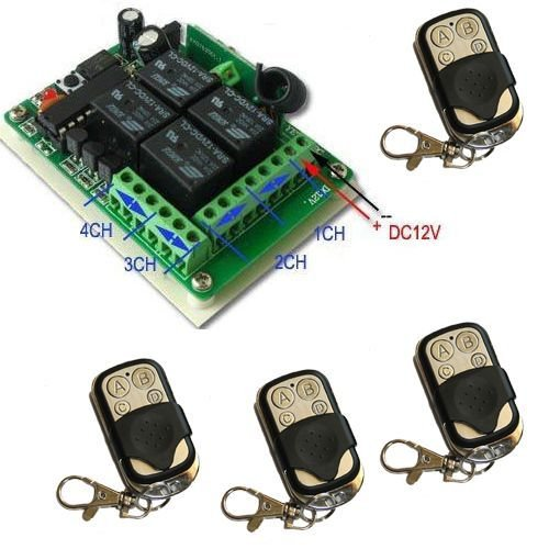 [Niet in het Duits) 4-kanaals ontvanger voor het openen van automatische poorten, plus 4 afstandsbedieningen – automatisering van poorten, vensterluiken, frequentie 433 MHz.