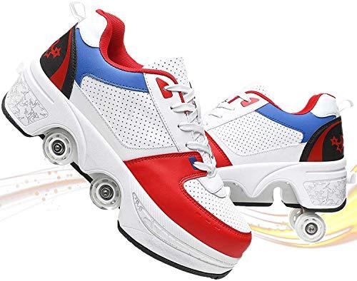 MUZIDP Zapatillas deportivas unisex clásicas multifunción para exteriores, de doble fila, ajustable, telescópica, zapatos deportivos informales (color blanco y rojo, tamaño: 41)