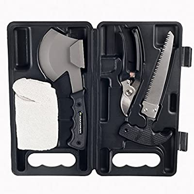 Camping Tool Kit, 4-Piece Multitool Outdoor Emergency Survival Set with Portable Carrying Case best for Camping and Hiking by Wakeman Outdoors from Trademark Global
