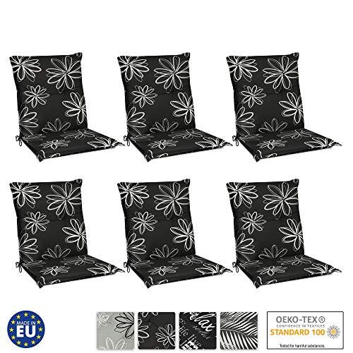 Beautissu Flores kussens met lage rugleuning, set van 6 voor tuinstoelen, zitkussens, 100 x 50 cm, tuinstoelkussen, lage rugleuning, UV-lichtecht, zitkussen, outdoor, in zwart met bloemen
