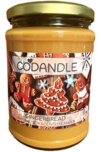 Codandle Candle | Gingerbread | Large Jar Vegan Natural Soy Christmas Scented Candle, 100+ Hours Burn Time & Made in UK