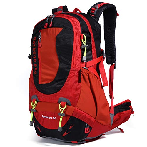 Hiking Backpack Waterproof Outdoor Internal Frame Backpacks for Men and Women Travel Camping Climbing (DV2003-Red-New)