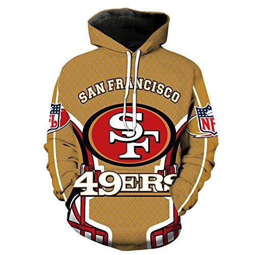 Lilell NFL Herren Kapuzen-Sweatshirt, Digitaldruck, 3D, San Francisco, 49er, Baseball-Outfit, erhältlich für alle Jahreszeiten, A., M