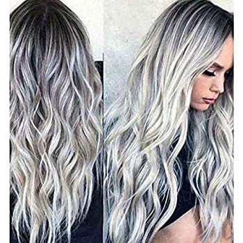 23  Natural Full Wigs Hair Long Wavy Wig Synthetic Heat Resistant  Ombre Silver