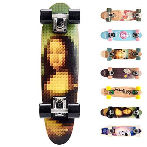 meteor Holz Skateboard Kinder - Mini Cruiser Kickboard - Skateboard mädchen Rollen Board - hohe Qualität Old School Skateboards Holz Deck - Retro Skateboard Jungen Mini-Board (Mona)