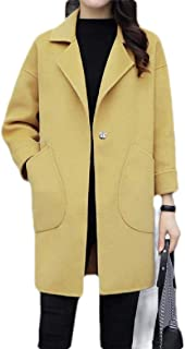 Macondoo Women Winter Lapel Wool Blended Warm Outwear Long Jacket Coat