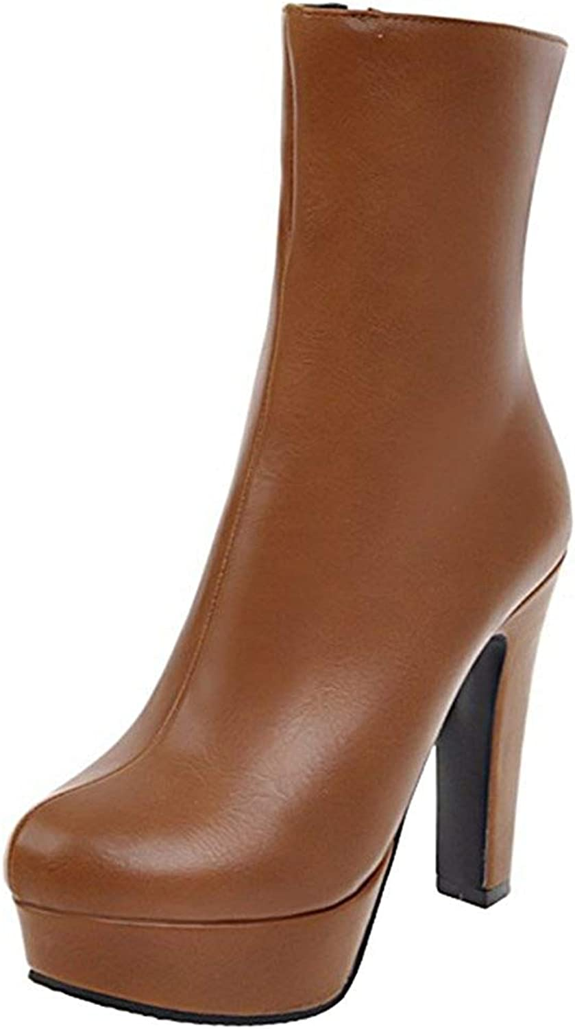 Ghssheh Women's Trendy Splicing Chunky High Heel Platform Ankle Booties Round Toe Side Zipper Short Boots Brown 6.5 M US