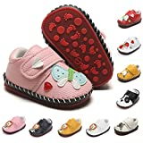 BEBARFER Baby Boys Girls Shoes Cartoon Crawling Slippers Soft Moccasins Toddler Infant Crib Pre-Walkers First Walkers Shoes Sneakers (F-Butterfly Pink, 12-18 Months)