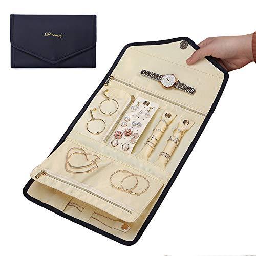 Lichi Organizador de joyas de viaje bolsa de joyas estuche para múltiples collares, anillos, relojes, gafas de sol, pulseras de cuero flexible, caja de viaje azul