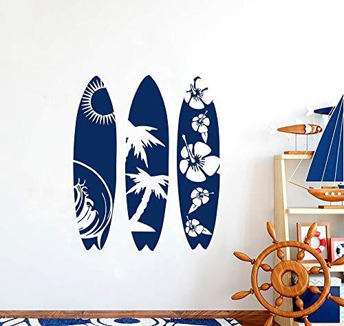 Calcomanía de vinilo surf deportes extremos palmera ola playa flores de cerezo patrón tabla de surf DIY pegatina de pared dormitorio de niño GIMNASIO decoración del hogar cartel mural artístico