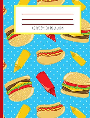 Composition Notebook: Hot Dog Hamburger Ketchup Mustard Fast Food BBQ Hipster Polka Dot Journal and Notebook