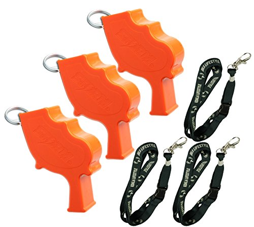 Koala Lifestyle Storm World s Loudest Outdoor Safety and Survival Whistle | Emergency and Military use | Marine use Heard Even Underwater | USA Made | Orange (Pack of 3)