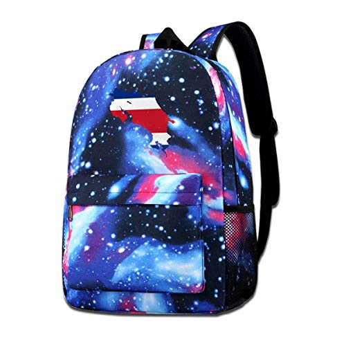 AOOEDM School Bag,Map and Flag of Costa Rica School Backpack Galaxy Starry Sky Book Bag Kids Boys Girls Daypack