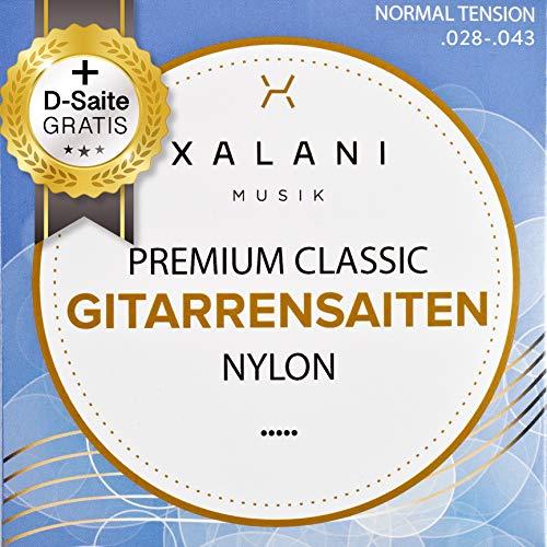 XALANI Gitarrensaiten Konzertgitarre I Extra D-Saite Gratis I Nylon Saiten Set für Klassische Gitarre und Akustikgitarre