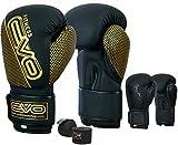 EVO Maya Hide - Guantes de boxeo de gel para artes marciales mixtas, saco de boxeo, muay thai, kickboxing, guantes de entrenamiento con vendas de boxeo gratis, color Negro/Dorado Mate, tamaño 12 onzas